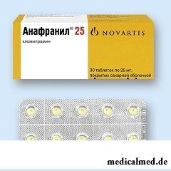 Таблетки, покрытые оболочкой, Анафранил