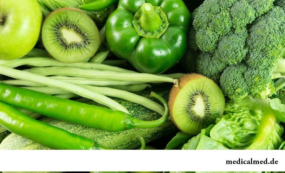 Польза зеленых овощей и фруктов